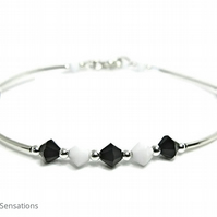 Black & White Swarovski Crystals & Sterling Silver Bangle Bracelet