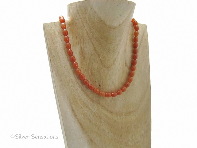 Dark Orange Red Aventurine Oval Rice Beads Unisex Necklace