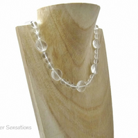 Clear Rock Crystal Quartz Faceted Coins Beaded Necklace