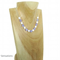 Purple Jade, White Agate & Sterling Silver Ladies Chain Necklace