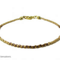 Slim Golden & Glossy Bronze Seed Bead Layering Friendship Bracelet