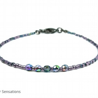 "Dainty Purple & Dark Green Seed Bead Stacking Friendship Bracelet - 6.5"" - 8"""