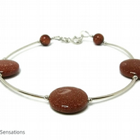Sparkly Tan Brown Sandstone Coin Beads & Sterling Silver Designer Bracelet