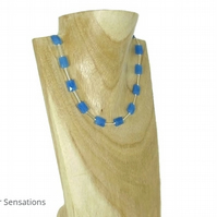 Blue Serpentine Jade Faceted Oblong Beads & Sterling Silver Tubes Necklace