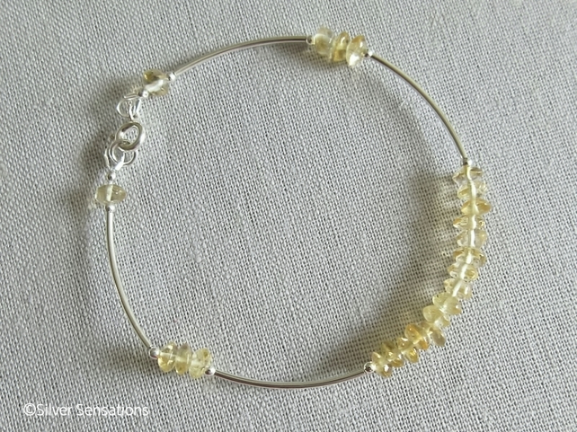 Natural Handcut Yellow Citrine Rondelles & Sterling Silver Curve Bangle Bracelet