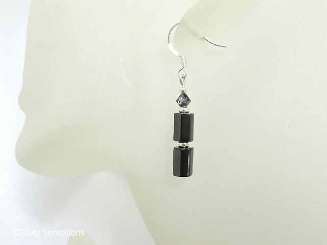 Hematite 6 Sided Tubes, Sparkly Crystals & Sterling Silver Drop Earrings