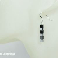 Gunmetal & Silver Hematite Cube Beads Earrings Gift With Sterling Silver