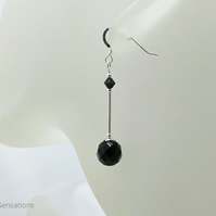 Faceted Black Onyx Earrings With Swarovski Crystals & Sterling Silver Tubes