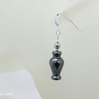 Hematite Vase Shaped Earrings With Sterling Silver