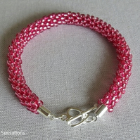 Deep Rose Pink Kumihimo Seed Bead Fashion Bracelet