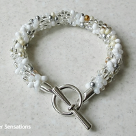 White, Silver & Clear Kumihimo Seed Bead Fashion Bracelet