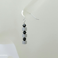 Silver Hematite Cube Earrings With Black Swarovski Crystals, Unique Design