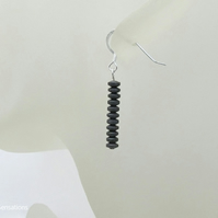 Slim Frosted Hematite Discs Earrings With Sterling Silver, Ladies Black Earrings