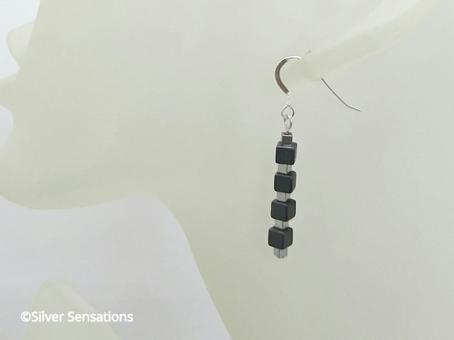 Matte Hematite & Silver Hematite Cubes Sterling Silver Earrings - Gift For Her
