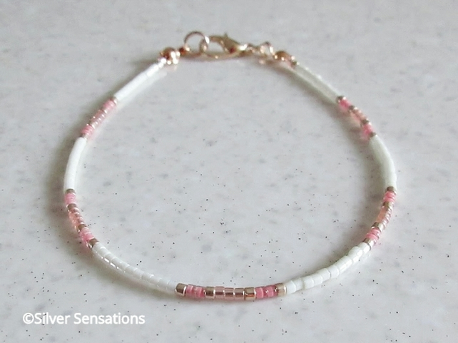 Dainty Cream, Pink & Rose Gold Seed Bead Friendship Bracelet Gift For Her