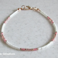 "Dainty Cream, Pink & Rose Gold Seed Bead Friendship Bracelet For Her  6.5"" - 8"""