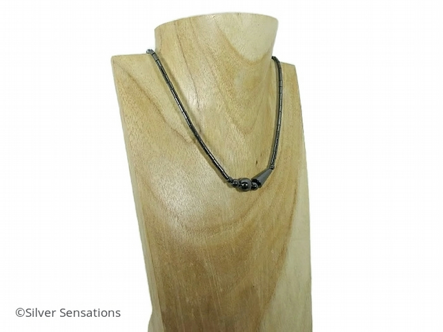 Slim Hematite Multi Shaped Slinky Black Beaded Ladies Necklace - Limited Edition