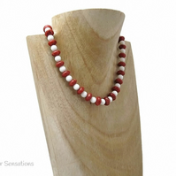 Red Coral & White Agate Beaded Ladies Necklace - Limited Edition