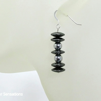 Glossy Silver Hematite Sterling Silver Earrings With Hematite Rondelle Beads