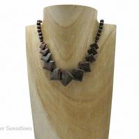 "Dark Burgundy Flame Jasper ""Diamond"" Beads Sterling Silver Necklace"