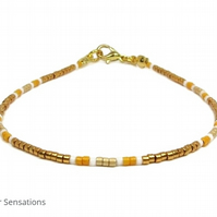 "Orange, Gold & White Seed Bead Friendship Bracelet - Layering Bracelet 6.5"" - 8"""