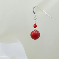 Red Impression Jasper Gemstone Earrings With Swarovski Crystals & Sterl Silver
