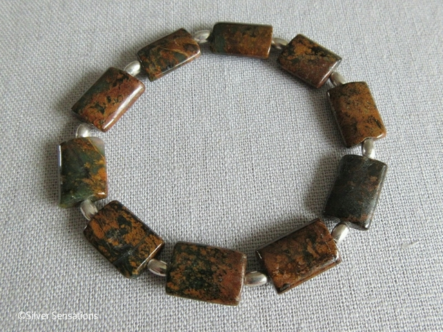 Brown & Green Rainbow Jasper Bracelet With Sterling Silver Beads - Unique gift