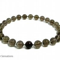 Dark Brown Smokey Quartz Bracelet With Sterling Silver & Garnet