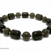 Smokey Quartz Medium Chunky Unisex Bracelet With Sterling SIlver