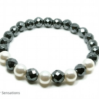 Faceted Black Grey Hematite Beads & White Swarovski Pearls Bracelet