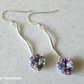 Solid Sterling Silver Bar Earrings With Sparkly Purple Swarovski Crystals