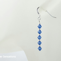 Dainty Sapphire Blue Crystal Bridesmaids Earrings With Swarovski Crystals