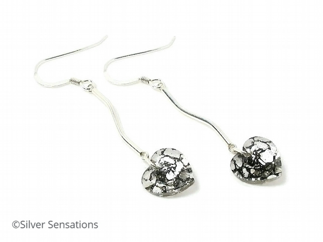Sterling Silver Bar Earrings With Swarovski Crystals