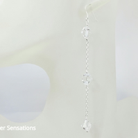 Unique Design Long Crystals Shoulder Duster Earrings With Sterling Silver Chains