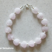 Pink Rose Quartz Hearts Bracelet With White Swarovski Pearls - Valentine Gift