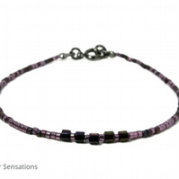 Dark Purple Seed Bead Skinny Layering Fashion Bracelet