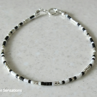Black White & Silver Dainty Seed Bead Friendship
