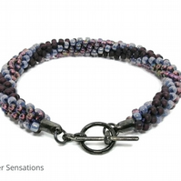 Purple Stripes Kumihimo Seed Bead Fashion Bracelet - Gift For Her Under 15