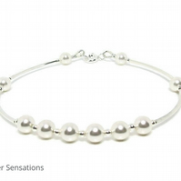 White Pearls Sterling Silver Bangle Bracelet With Swarovski Elements
