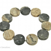UNIQUE - Pale Brown & Grey Yellow Cloudy Jasper Coins & Sterling Silver Bracelet