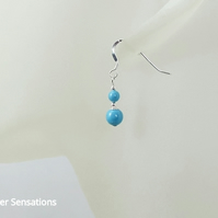 Swarovski Turquoise Blue Pearls & Sterling Silver Short Drop Earrings