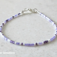 Purple & White Dainty Seed Beads Layering Friendship Bracelet - Unisex Gift
