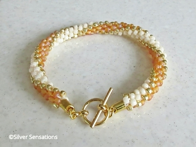 Orange Gold & Cream Stripey Kumihimo Seed Bead Bracelet