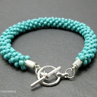 Turquoise Blue Green Kumihimo Seed Bead Bracelet - Beaded Fashion Bracelet
