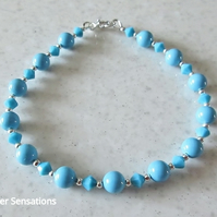 Turquoise Pearls & Crystals Wedding Bracelet With Swarovski Elements
