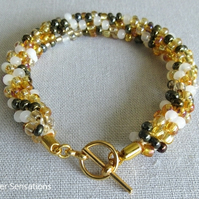 Yellow & White Mix Kumihimo Seed Bead Fashion Bracelet Gift For Her