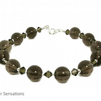 Brown Smokey Quartz & Sterling Silver Bracelet With Swarovski Crystals
