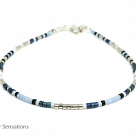 Silver & Blue Dainty Seed Bead Bracelet - Stacking Friendship Bracelet - Boho