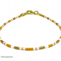 "Dainty Orange, Gold & White Seed Bead Slim Friendship Bracelet - 6.5"" - 8"""