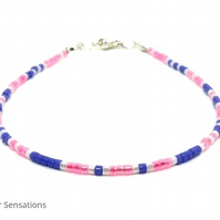 "Pink, Purple & White Seed Bead Fashion Bracelet - Dainty Bracelet - 6.5"" - 8"""